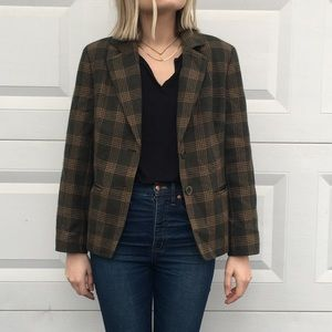 Amazing Vintage Plaid Wool Blend Blazer